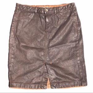 banana republic oil stained denim skirt.